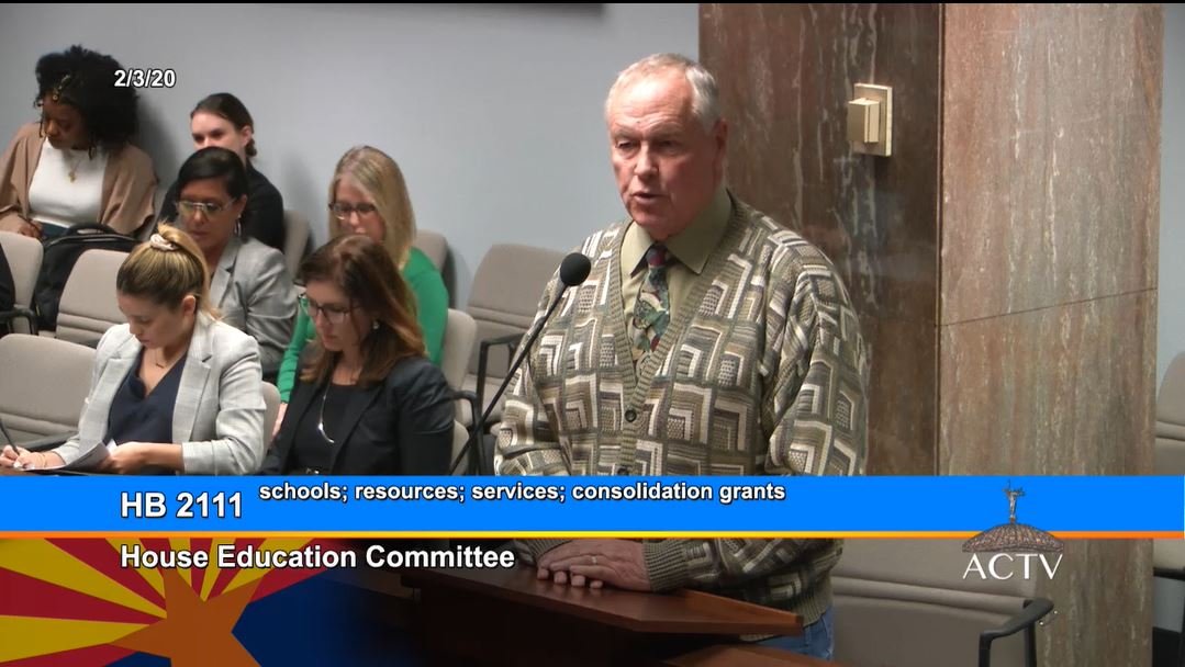 Yavapai County Schools Superintendent Tim Carter Tells Legislators How House Bill 2111's Grant Will Help Other Counties Consolidate Resources And Develop New Services During The House Education Committee Meeting On Feb. 3, 2020. Photo Courtesy Arizona Capitol Television
