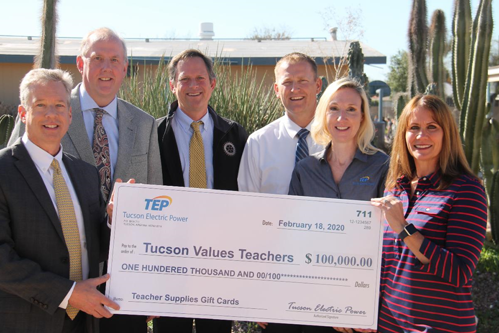 Representatives From Tucson Values Teachers And Tucson Electric Power (TEP) Celebrated TEP's $100,000 Donation To Tucson Supplies Teachers, An Annual Supply Drive, With A Check Presentation This Morning At Laguna Elementary School. Photo Courtesy Of Tucson Values Teachers