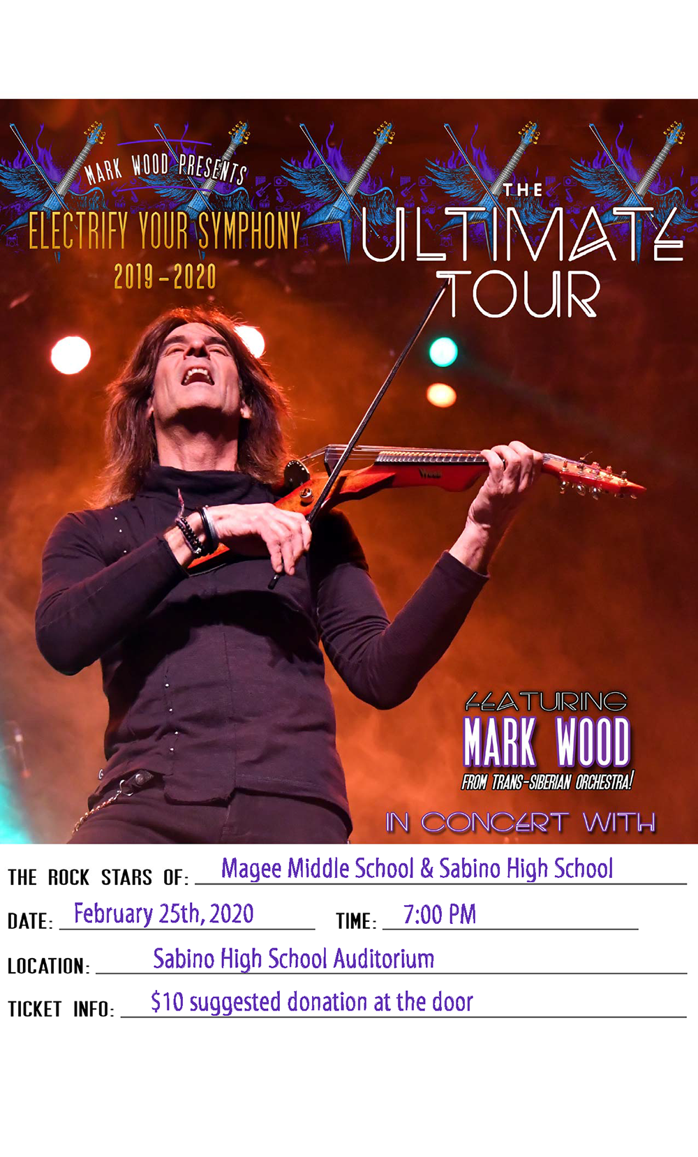 Electrify Your Symphony At Tucson Unified School District Poster With Date And Time Of Performance