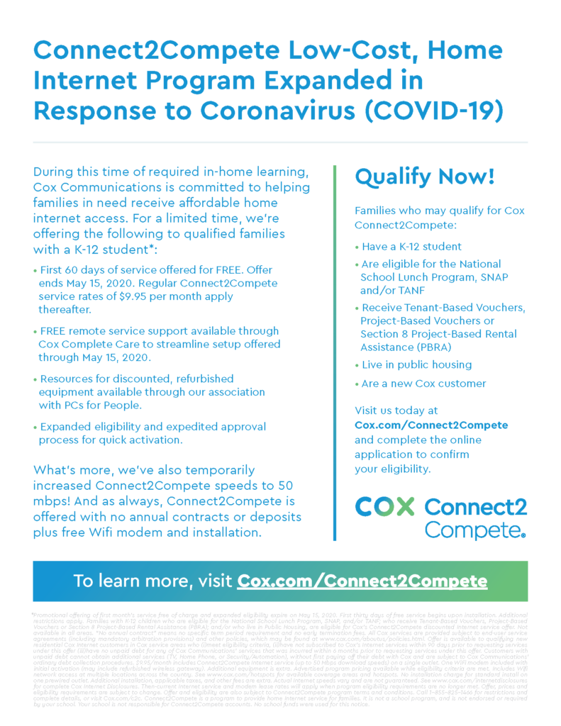 Cox increases access and speeds of Connect2Compete in response to COVID-19 crisis C2C-Flyer-COVID19-Bilingual_Page_1-791x1024