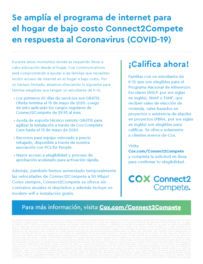 Cox increases access and speeds of Connect2Compete in response to COVID-19 crisis C2C-Flyer-COVID19-Bilingual_Page_2-791x1024