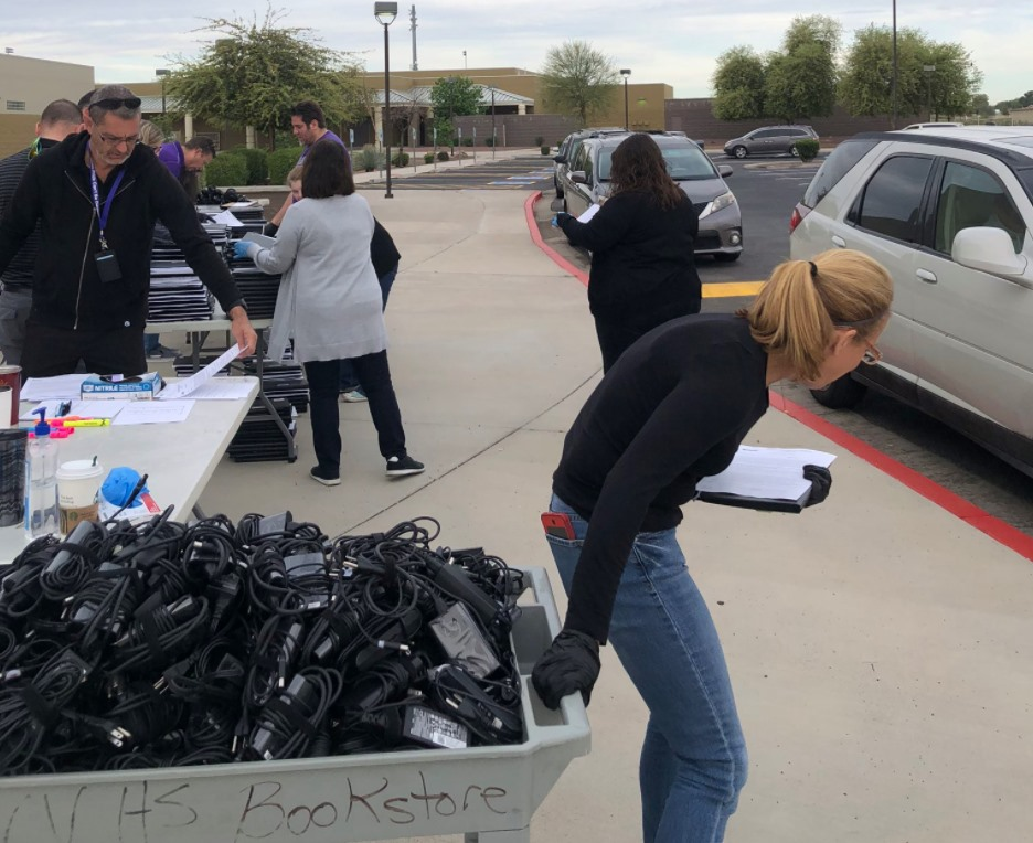 Thanks To All The Staff Out There, Including Valley Vista High School, Distributing Technology To Students Today To Begin Remote Learning On Monday. Photo Courtesy Dysart Unified School District