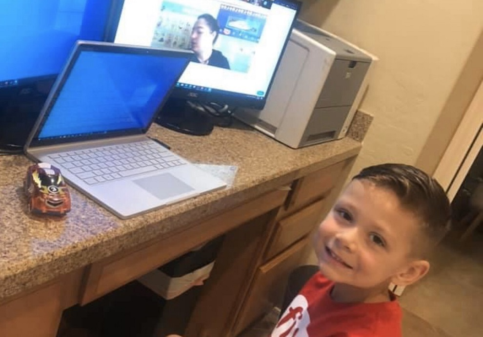 A Litchfield Elementary School District Student Taking Part In Distance Learning. Photo Courtesy Litchfield Elementary School District Twitter Page.