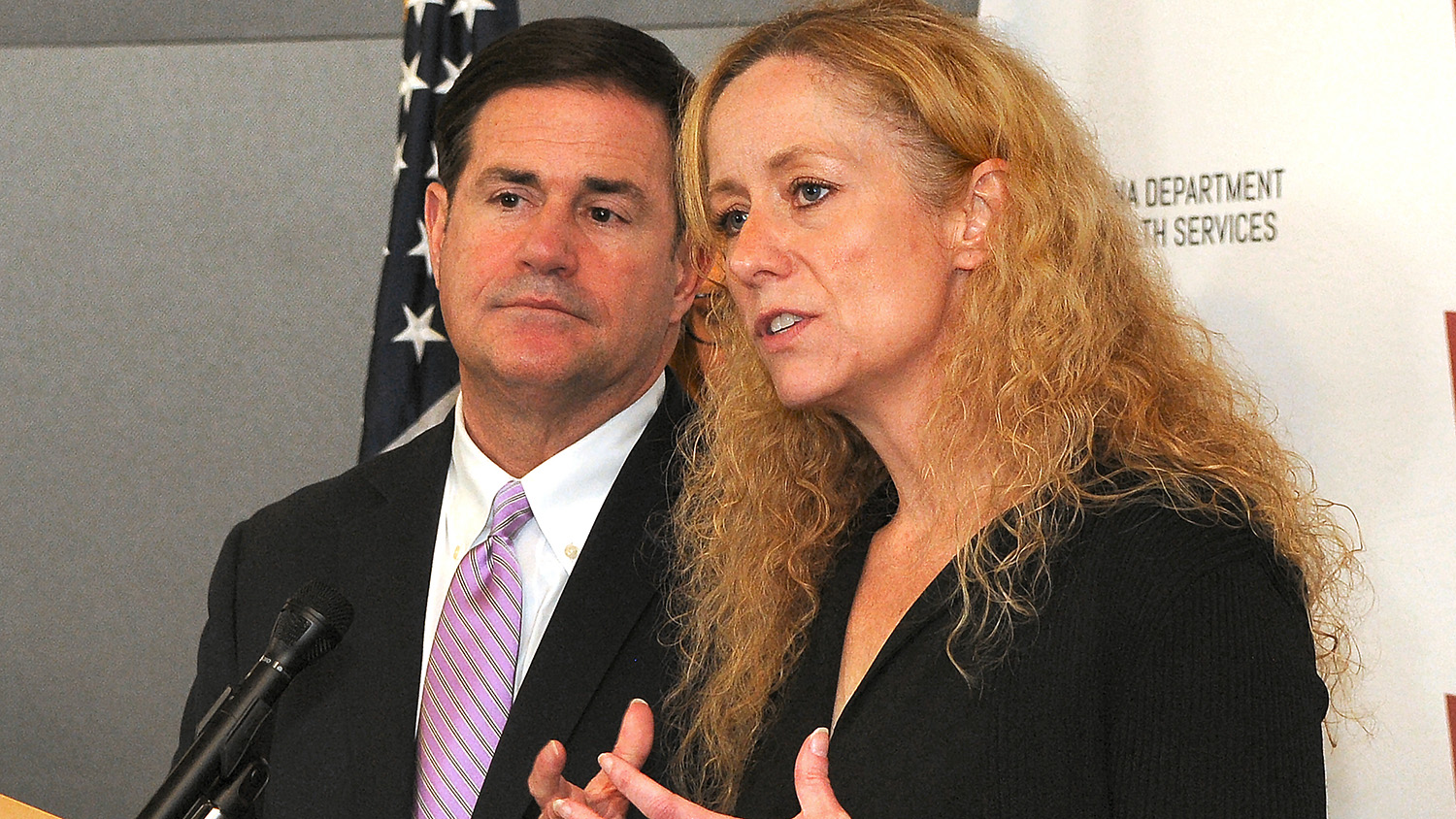 Dr. Cara Christ And Gov. Doug Ducey On March 11, 2020. Howard Fischer/Capitol Media Services