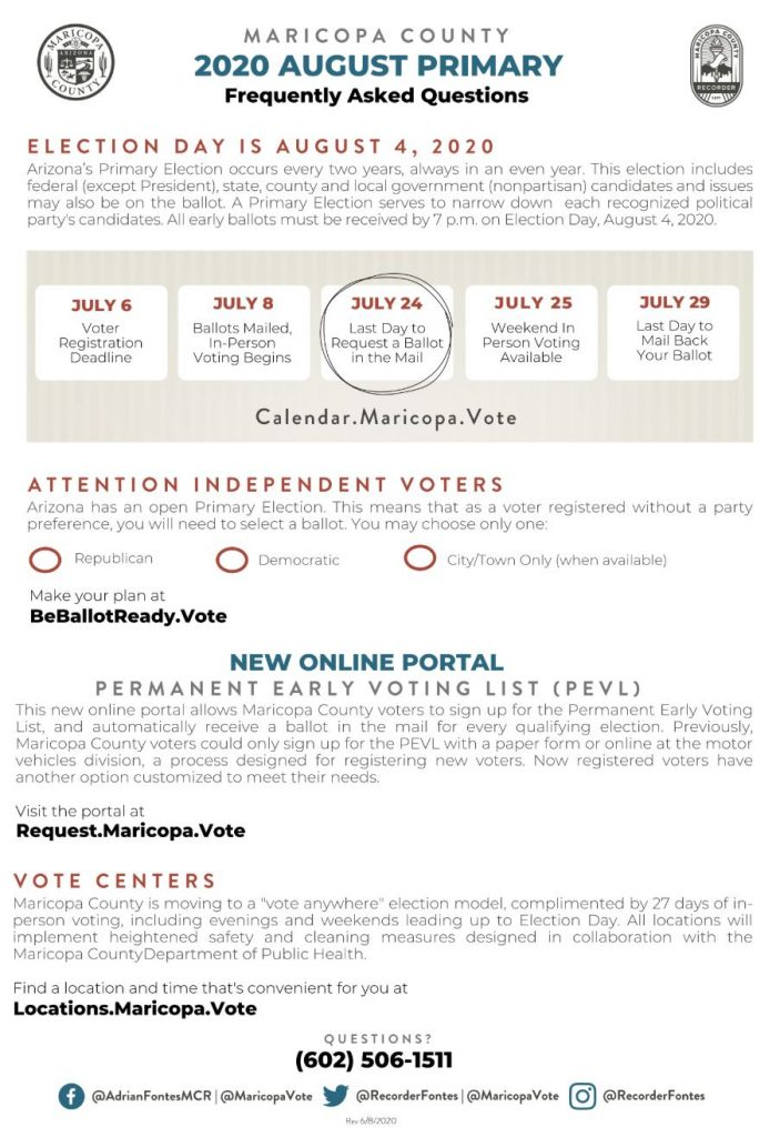 Maricopa County Elections Department provides information for Aug. 4, 2020 primary election 2020-August-Primary-FAQ-Page-1-703x1024