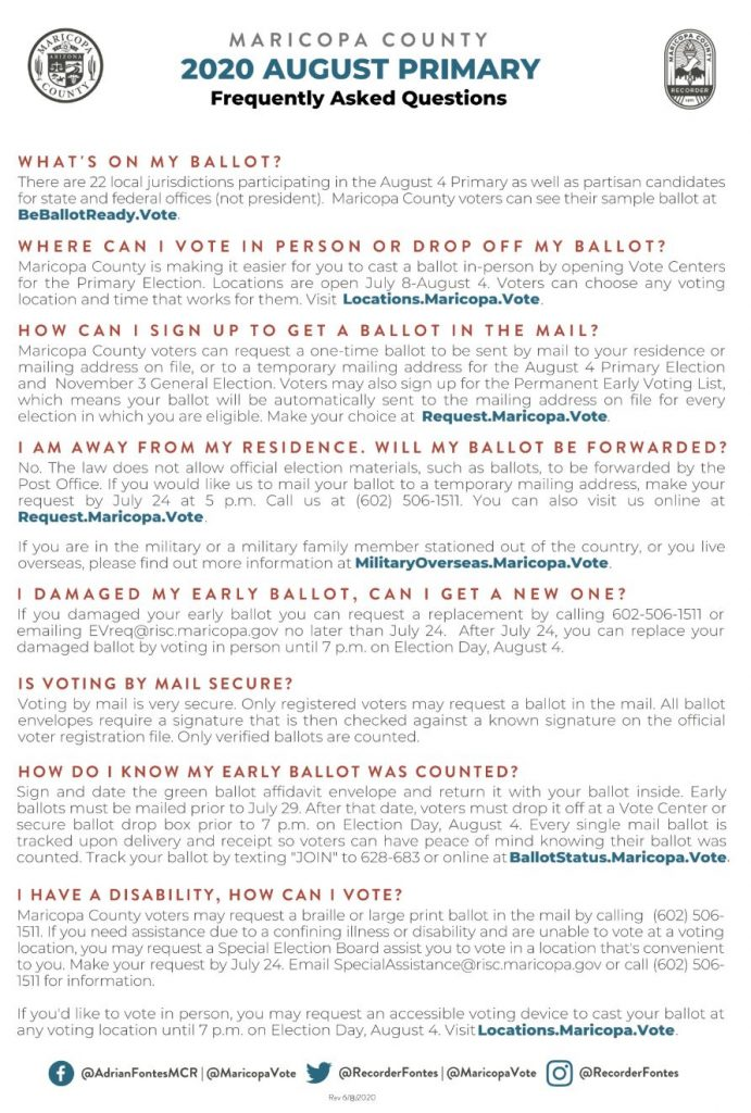 Maricopa County Elections Department provides information for Aug. 4, 2020 primary election 2020-August-Primary-FAQ-Page-2-691x1024