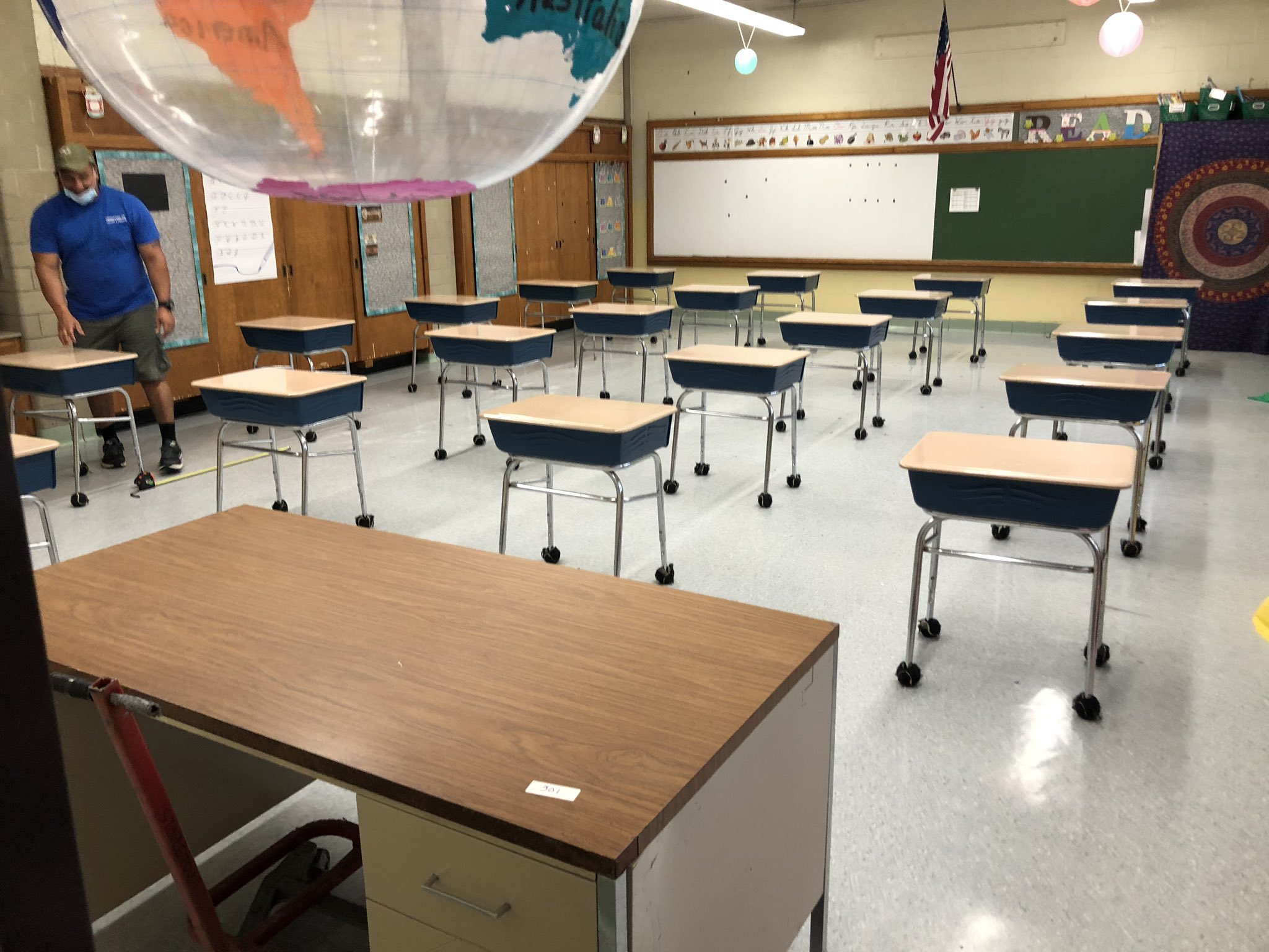 An Empty Classroom With Desks Spaced Three Feet Apart. Photo Courtesy Brenda Maurao