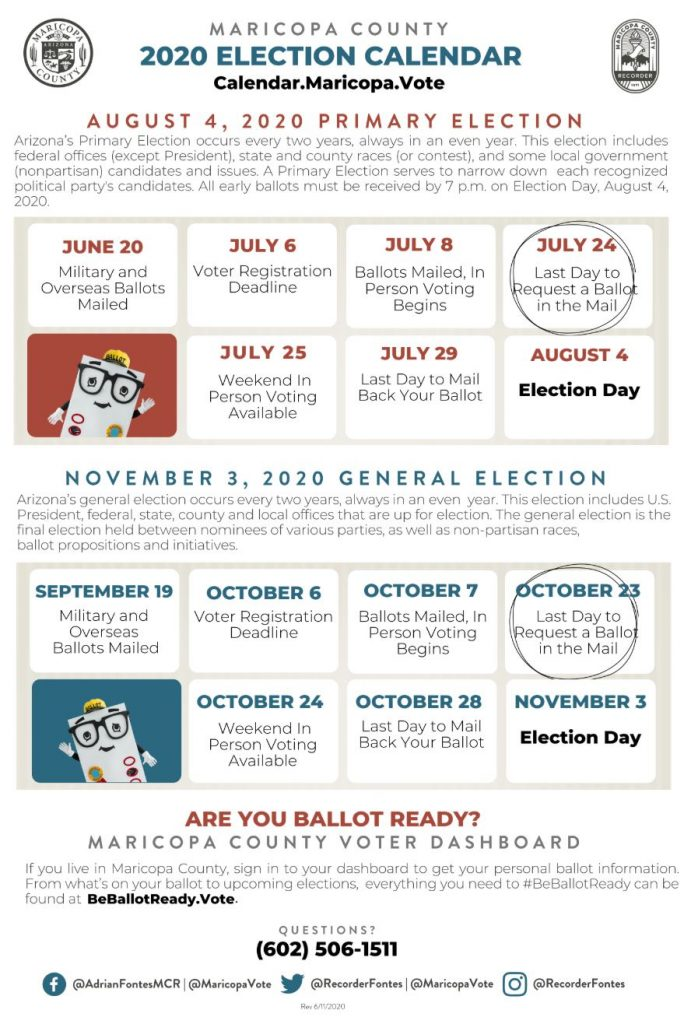 Maricopa County Elections Department provides information for Aug. 4, 2020 primary election Maricopa-County-2020-Election-Calendar-691x1024