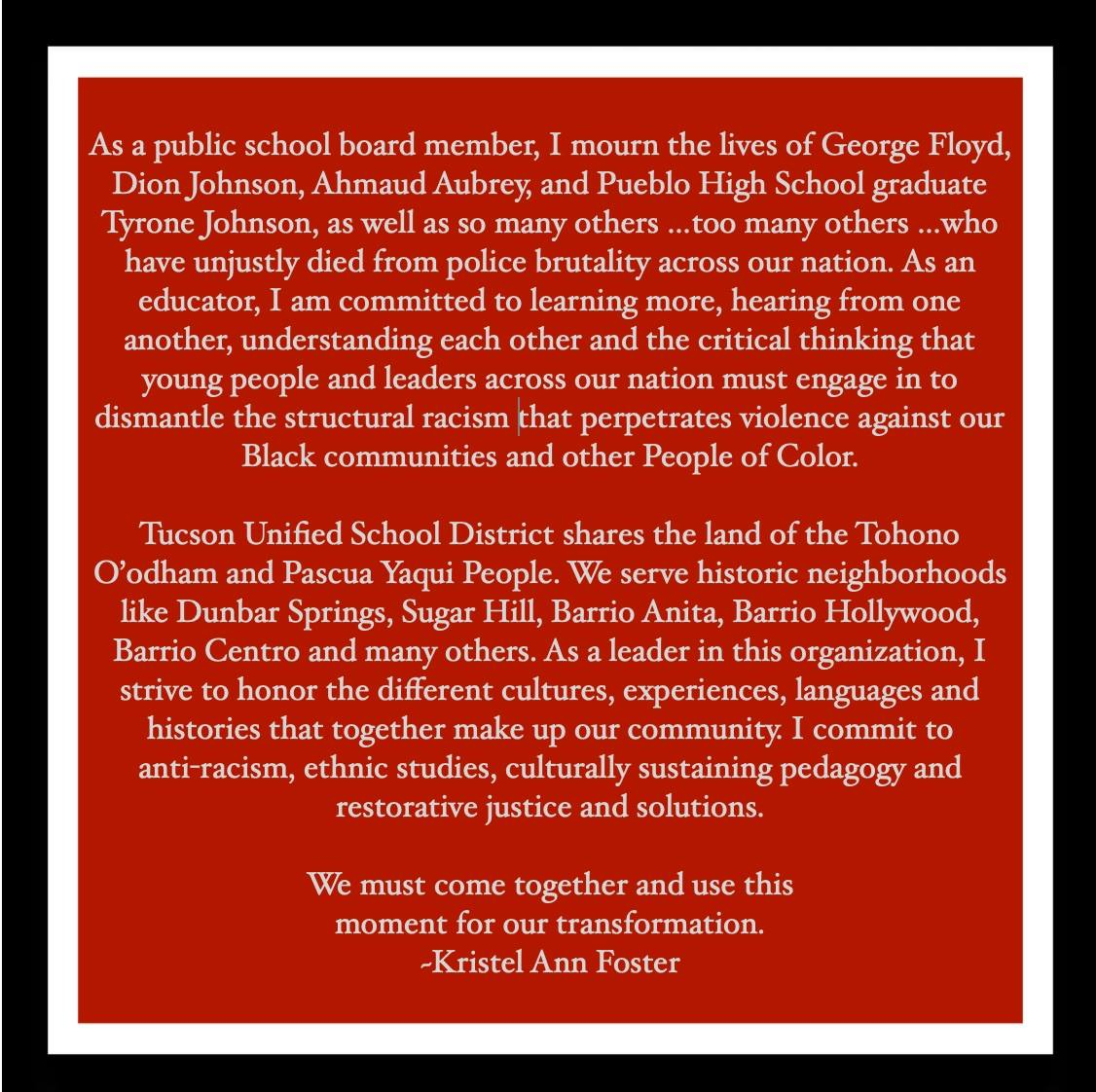 Arizona schools, students take action after protests for justice and reform TUSD-Kristel-Foster-Stmt