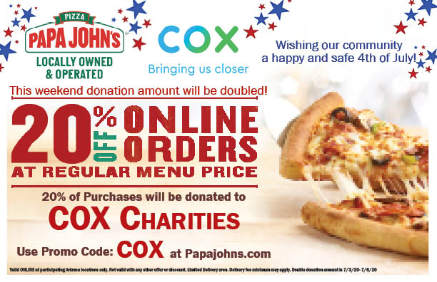 Use This Coupon For Papa John S Orders This Weekend And 20 Of Purchases Will Be Donated To Cox Charities Azednews