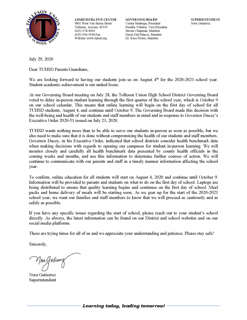 Tolleson Union High School District delays start of in-person classes to the end of first quarter TUHSDDelaytoIn-PersonLearning.Rev-PNG-791x1024