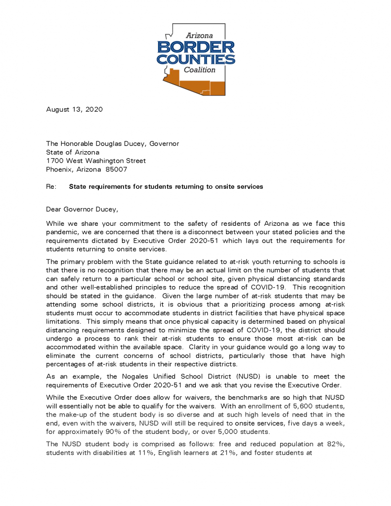 Schools provide on-site student support despite staffing, resource issues Border-Counties-Letter-on-School-Districts-to-Gov.-Ducey_Page_1-791x1024