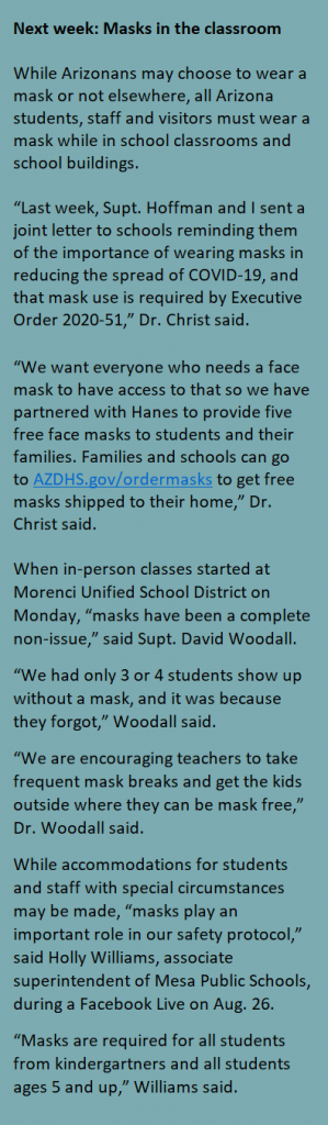 How benchmarks, health advice, insurance guide schools' re-opening plans Masks-sidebar-299x1024
