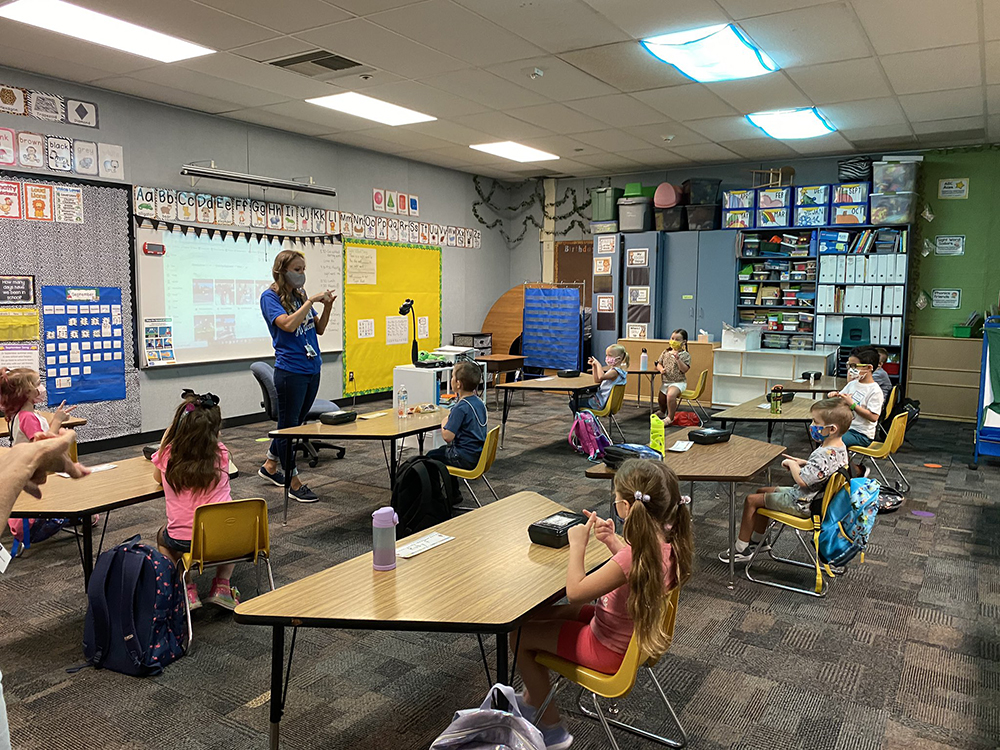 A Teacher Instructs One Group Of Her Students During Hybrid Or Modified In-person Instruction At Mesa Unified School District. Photo Courtesy Mesa Unified School District