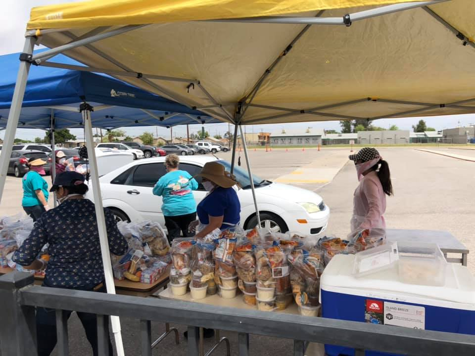 Yuma Elementary School District One's Child Nutrition Team Serves Grab & Go Meals To Students And Their Families. Photo Courtesy Yuma Elementary School District One