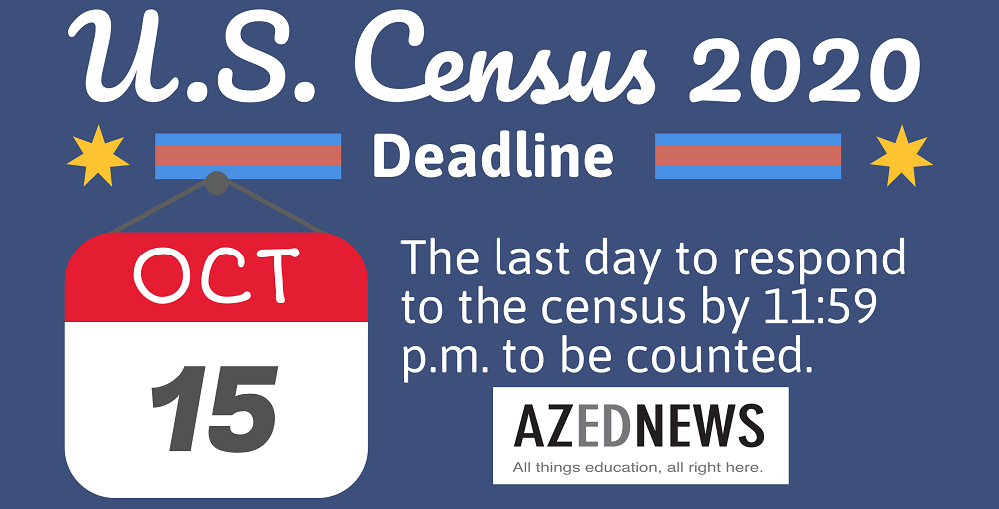The Last Day To Respond To The 2020 Census Is Thursday, Oct. 15, 2020 By 11:59 P.m. So Head Online, Or Call By Phone And Get It Done Today. Graphic By Lisa Irish/AZEdNews