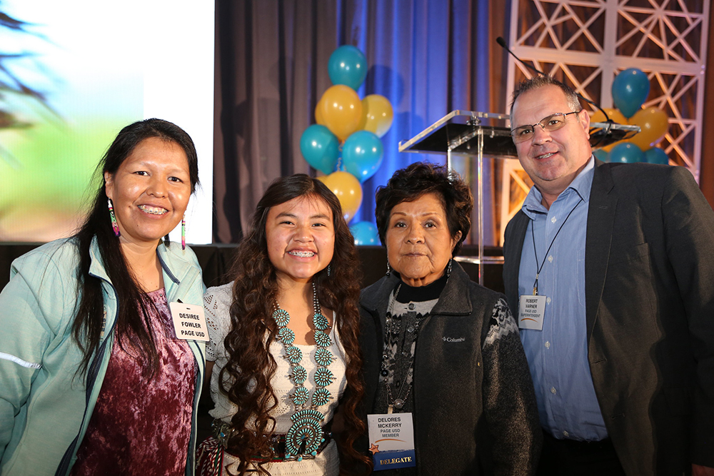 A Students Awarded An ASBA Award With School Board Members And Her District Superintendent.