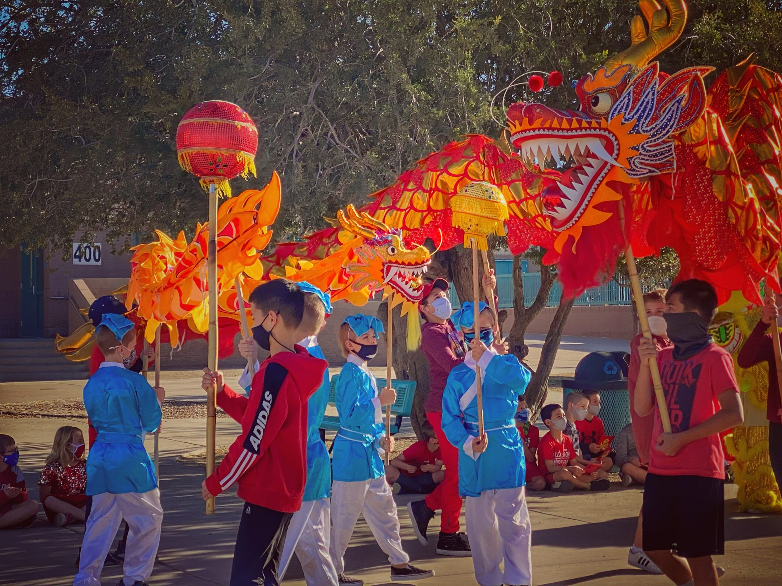 Students At Horseshoe Trails Elementary School Led The School-wide Chinese New Year Parade.