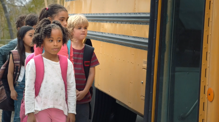 Students Getting On A School Bus From The Arizona Dept. Of Education's Ready For School AZ Campaign. Courtesy Arizona Dept. Of Education