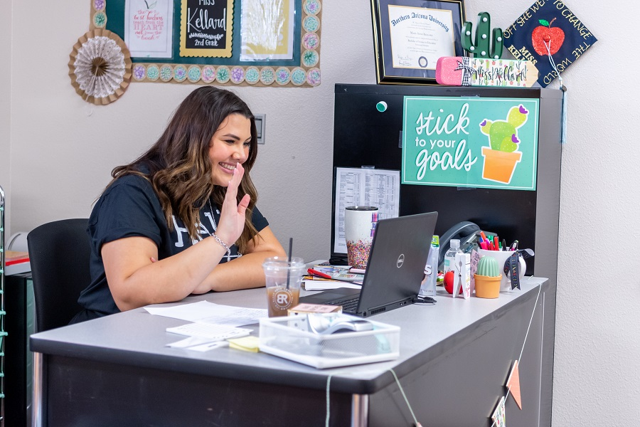 A Teacher Greets Students On The First Day Of Online Learning At Asante Prep In Dysart Schools In Aug. 2020. Photo Courtesy Dysart School District