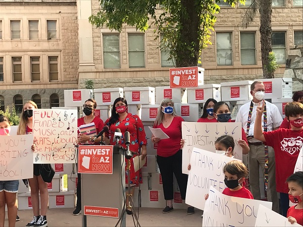 Advocates turn in signatures to put tax cuts that impact education funding on ballot Invest-in-AZ-Now-Coalition-photo-600-