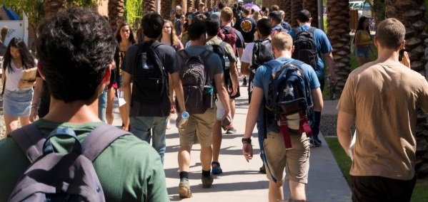 Arizona State University Students Walk Down Palm Walk On The Tempe Campus On The First Day Of Class Aug. 16. Photo By Marcus Chormicle/ASU Now